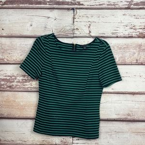 Banana Republic Green & Navy Stripe Fitted top